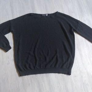 {Alice + Olivia} Black Boxy Boatneck Sweater